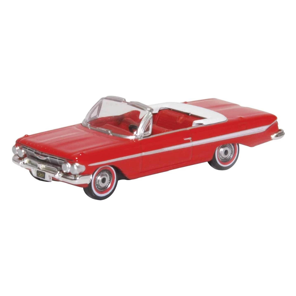 HO Scale: 1961 Chevy Impala Convertible - Red & White