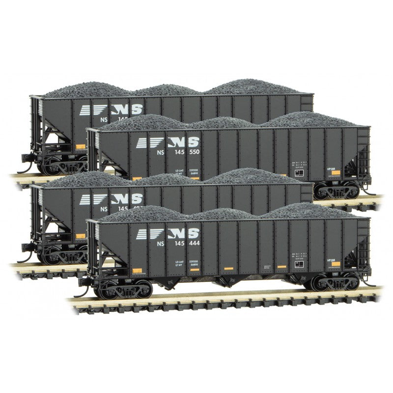 N Scale: 100-ton 3-Bay Open Hopper with Load - Norfolk Southern - 4 Pack
