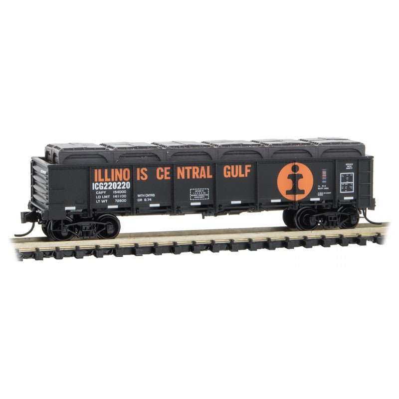 N Scale: 40' Drop Bottom Gondola w/Load - Illinois Central Gulf