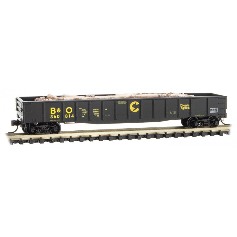 N Scale: 50' Steel Side Gondola w/Load - B&O