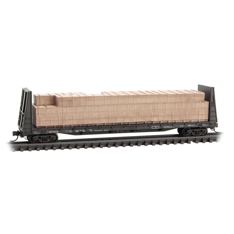 N Scale: 61' Bulkhead Flat Car w/ Load - Western Pacific 'Weathered'