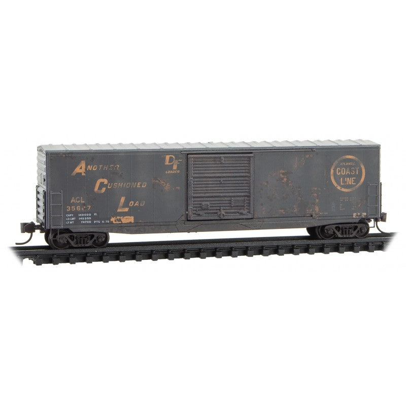N Scale: 50' Standard 'Modernized' Boxcar - ACL 'Weathered' - 2 Pack