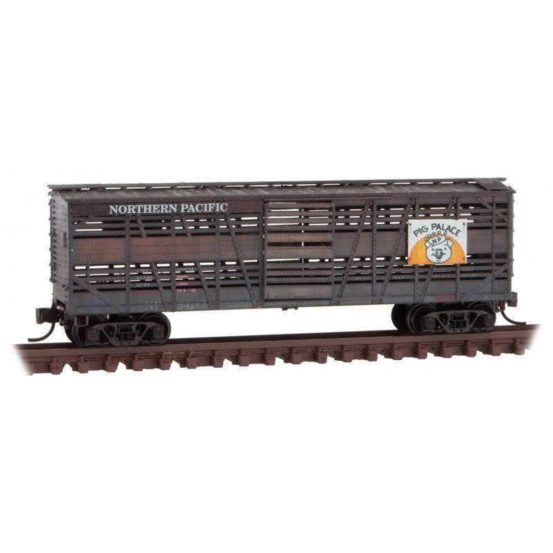 N Scale: 40' Despatch Stock Car - Northern Pacific 'Pig Palace' - 2 Pack