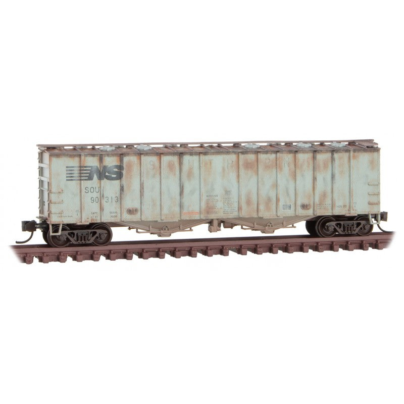 N Scale: 50' Airslide Covered Hopper - Norfolk Southern  'ex. SOU - Weathered' 3 Pack