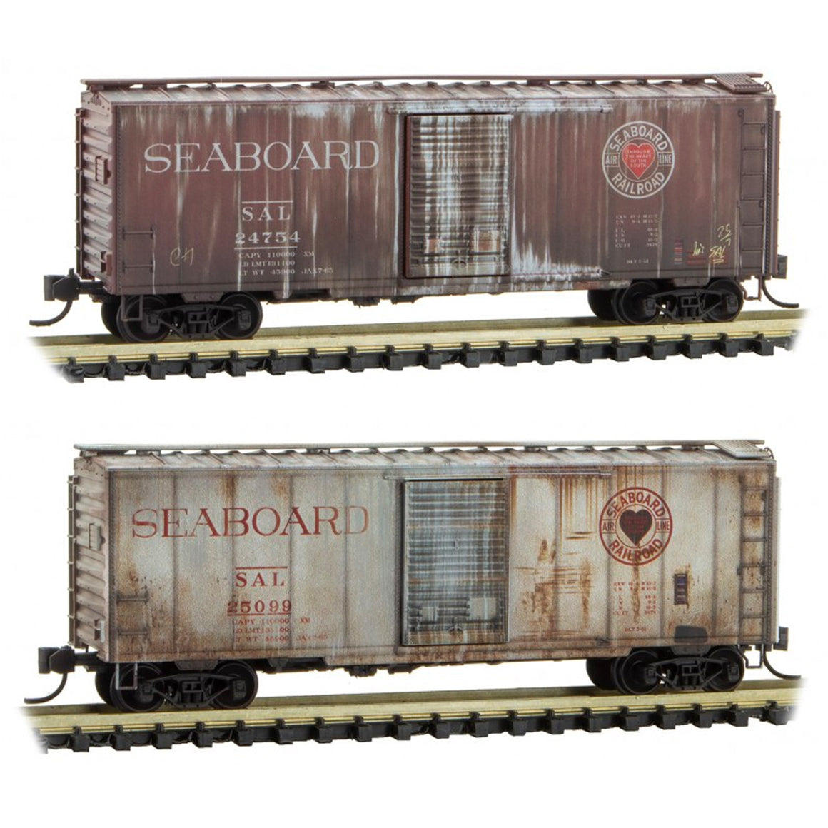 N Scale: 40' Boxcars - Seaboard - 2 Pack - Weathered