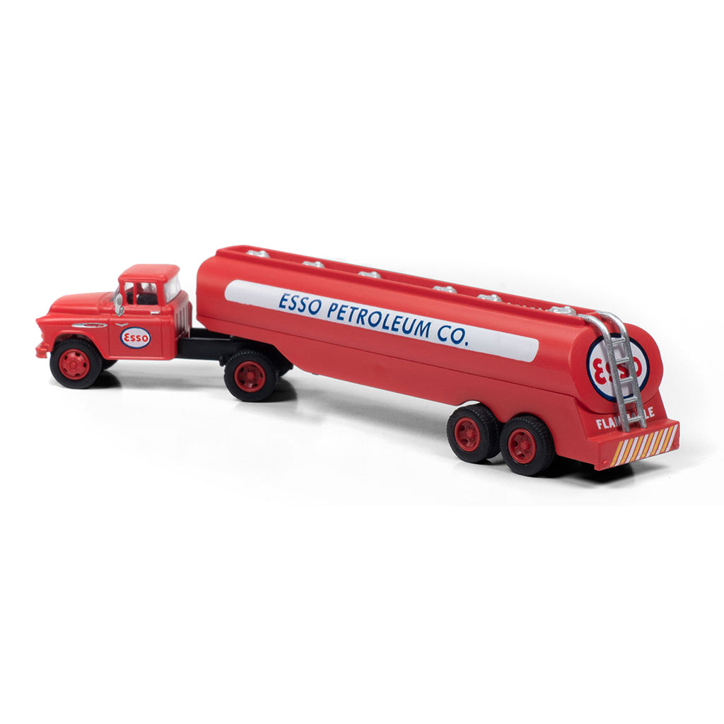 HO Scale: 1957 Chevrolet Tractor with Tank Trailer - Esso Petroleum