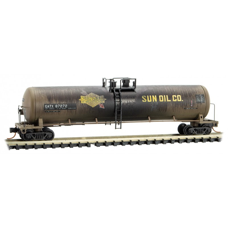 N Scale: 56' General Service Tank Car - Weathered - SUNOCO (GATX)