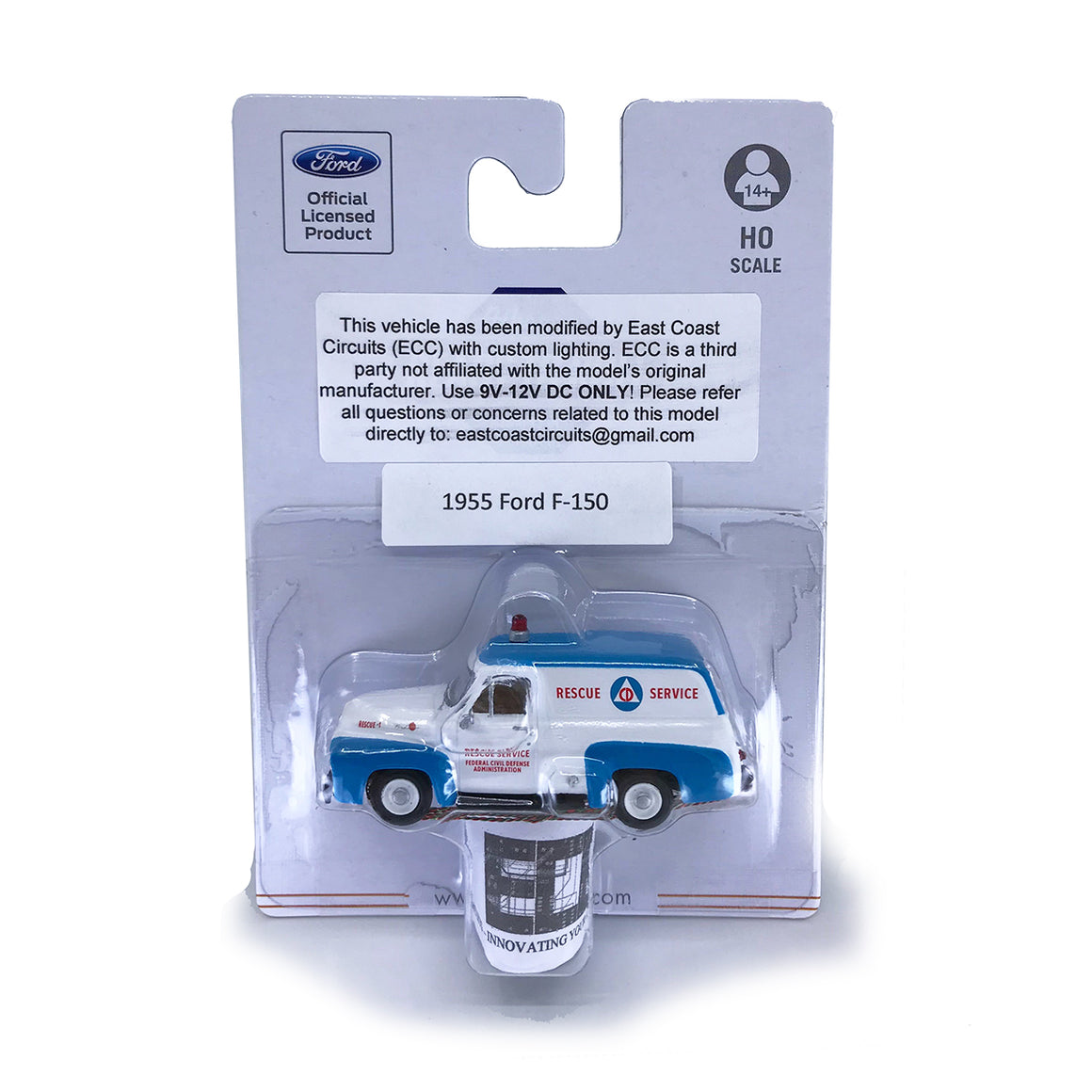HO Scale: Lighted 1955 Ford F-100 Panel Truck - Civil Defense