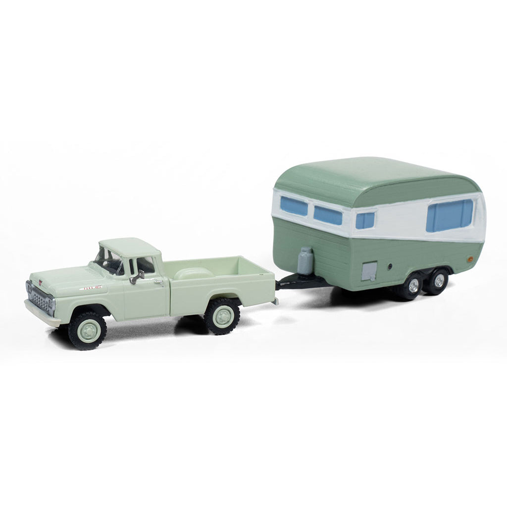 HO Scale: 1960 Ford 4x4 Pickup Truck 1950's Camper Trailer - Adriatic Green