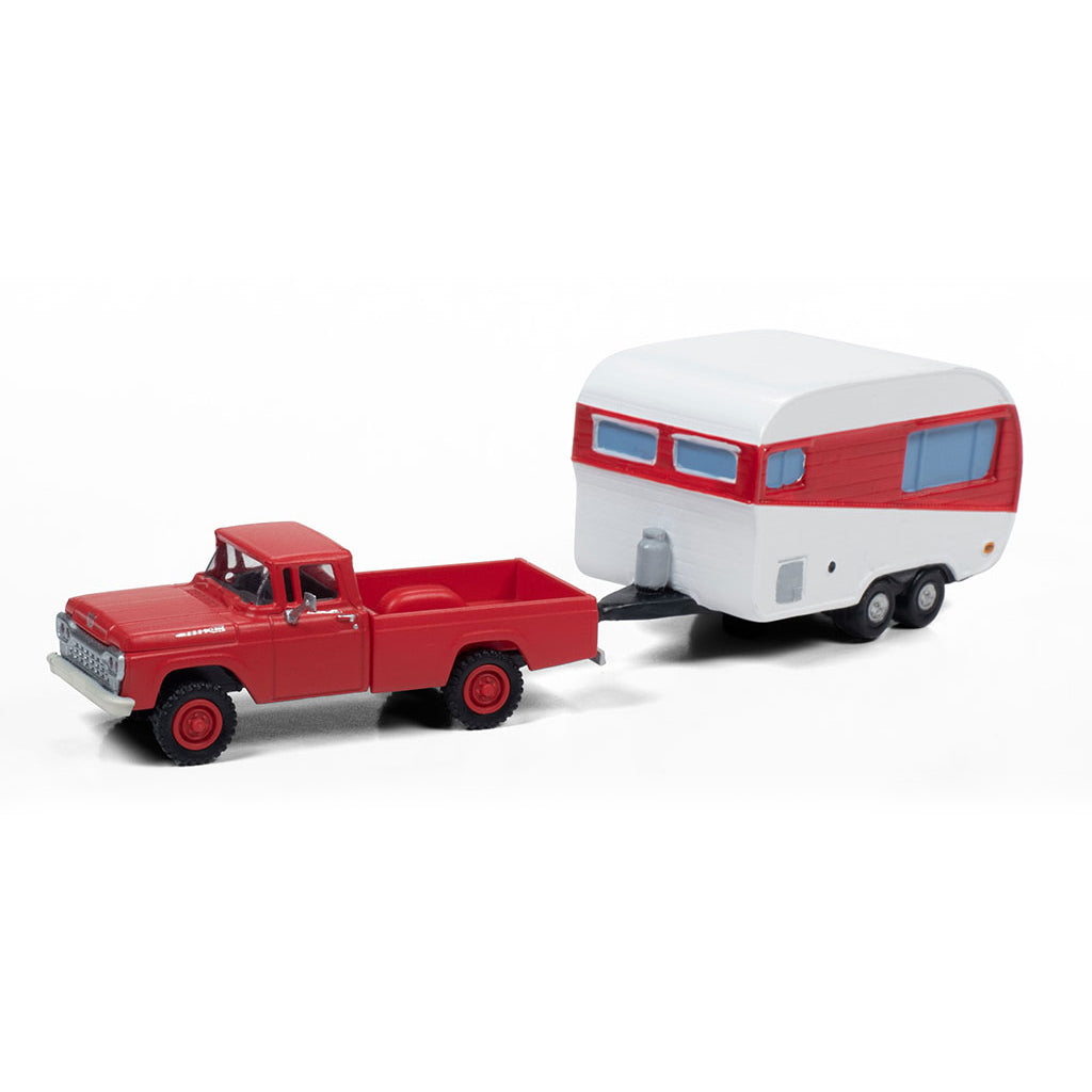 HO Scale: 1960 Ford 4x4 Pickup Truck w/ 1950's Camper Trailer - Monte Carlo Red