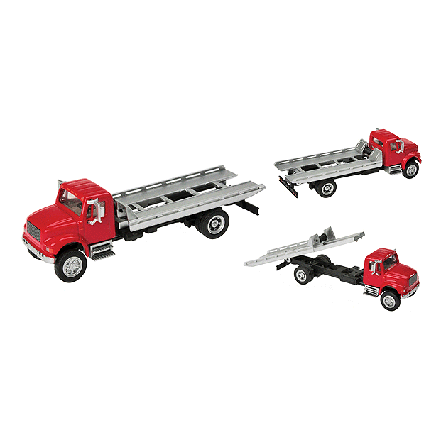 HO Scale: International® 4900 Roll-On/Roll-Off Flatbed - Red/Silver