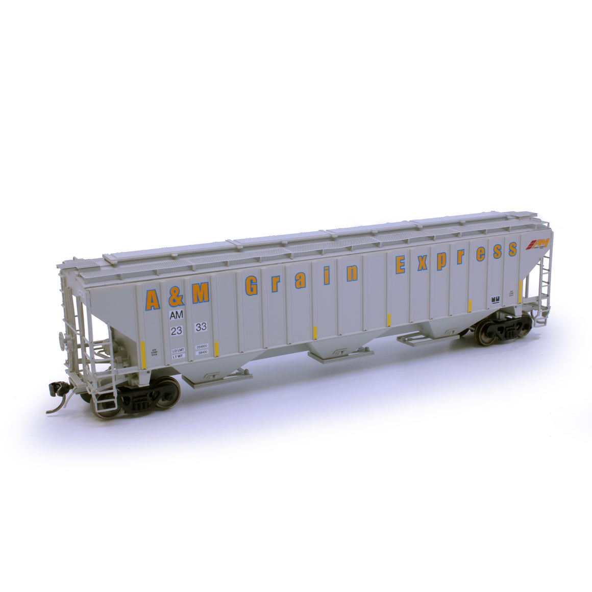 HO Scale: 4750 3-Bay Rib-Sided Covered Hopper - A&M Grain Express