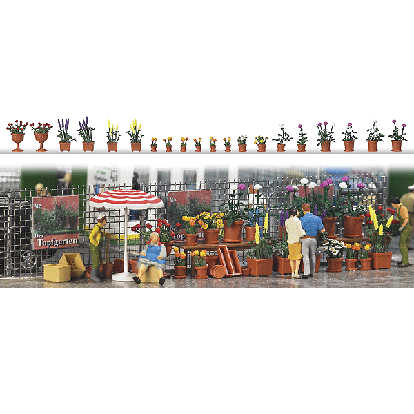 HO Scale: Flower Pots w/Flowers