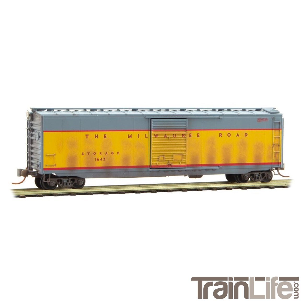 N Scale: 50' Standard Boxcar - Weathered - Milwaukee Road