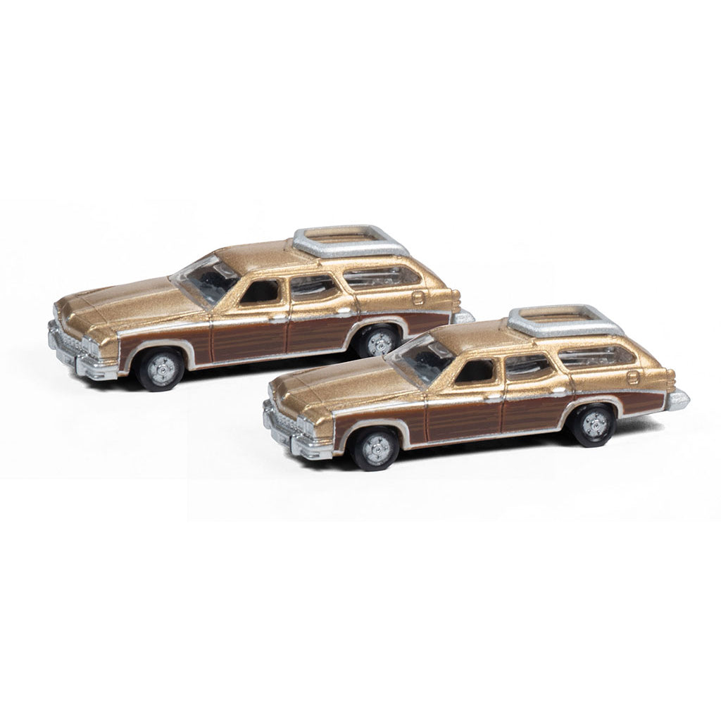 N Scale: 1974 Buick Estate Wagon - Gold Mist - 2 Pack
