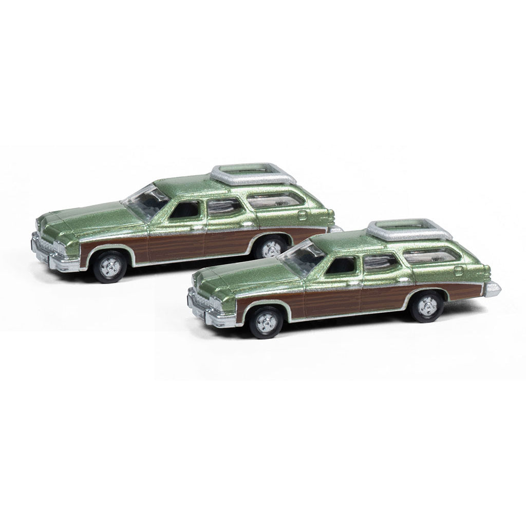N Scale: 1974 Buick Estate Wagon - Leaf Green - 2 Pack