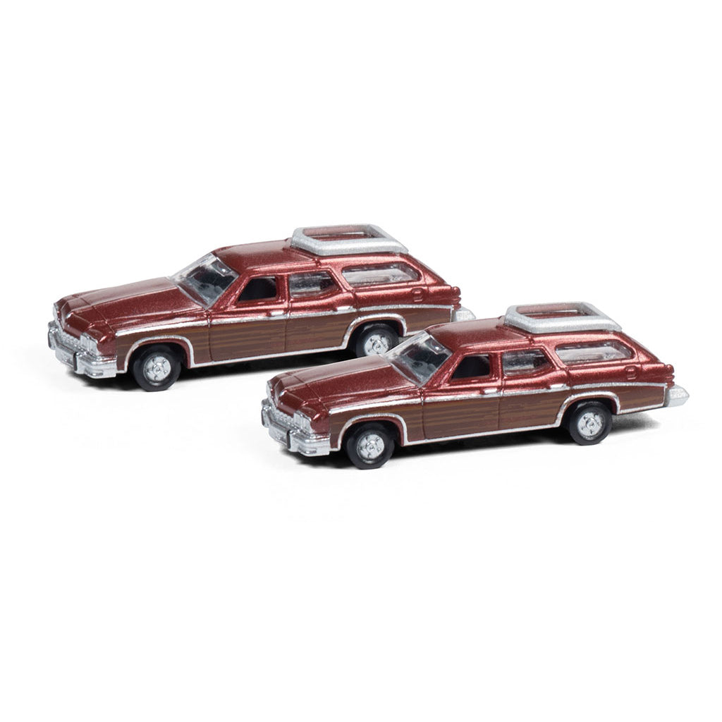 N Scale: 1974 Buick Estate Wagon - Burgundy - 2 Pack