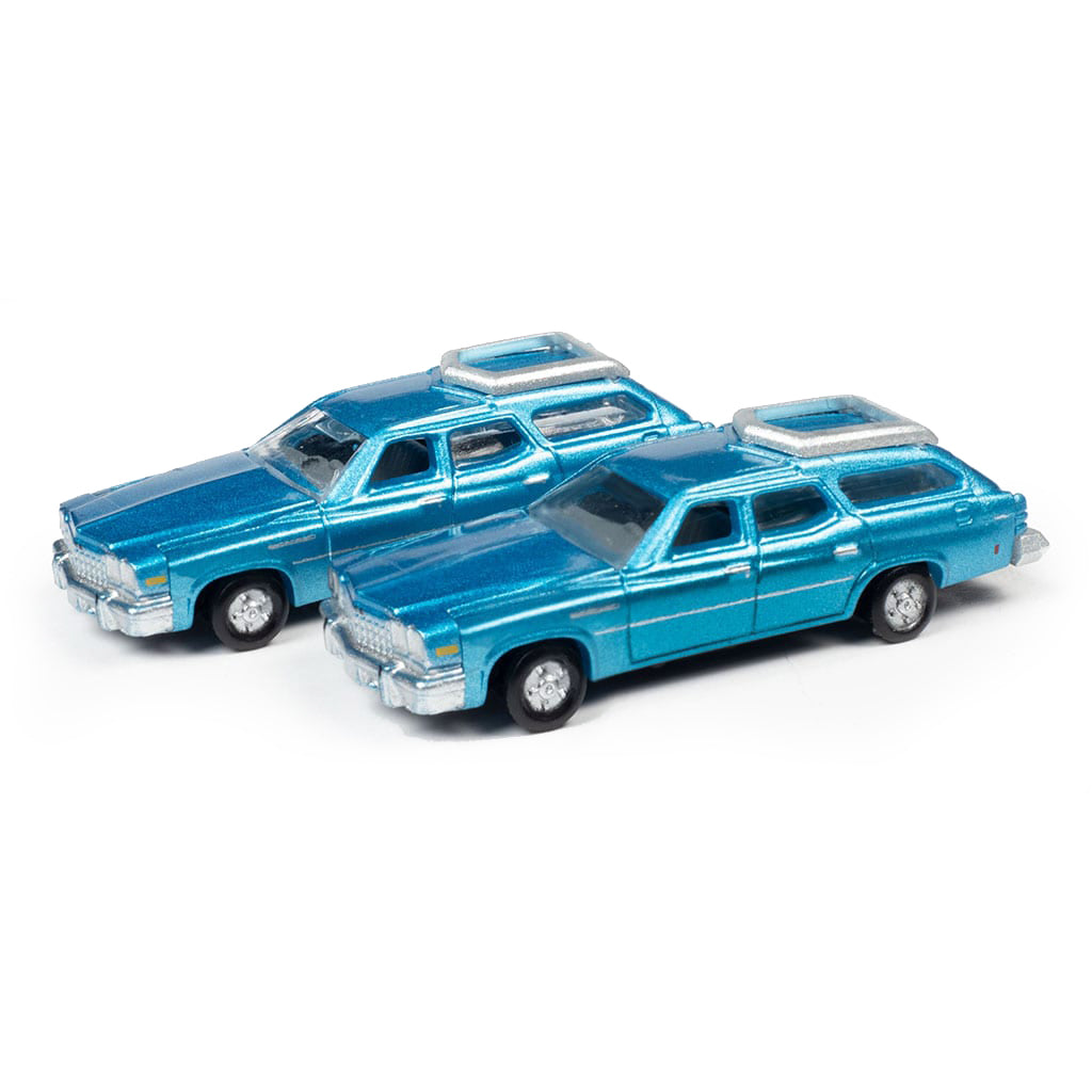 N Scale: 1976 Buick Estate Wagon - Potomac Blue - 2 Pack