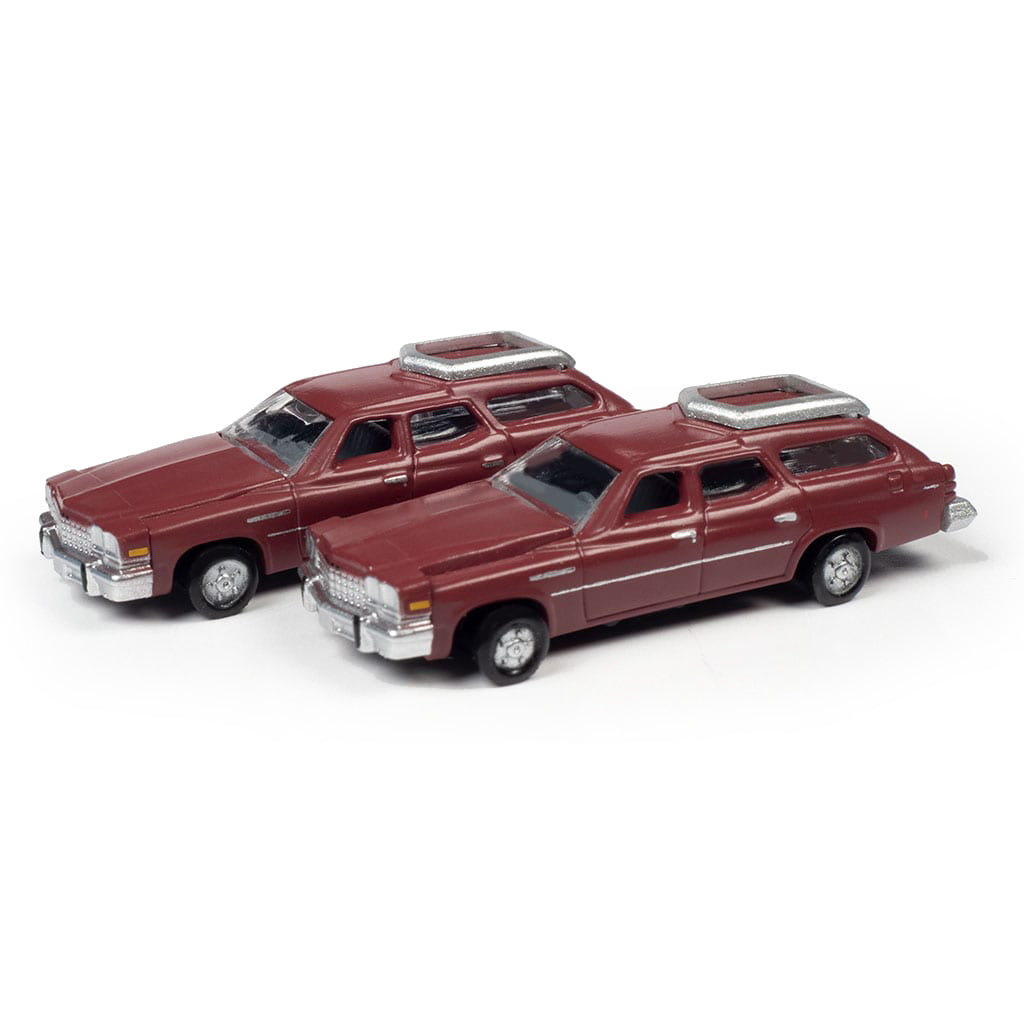 N Scale: 1976 Buick Estate Wagon - Independence Red - 2 Pack