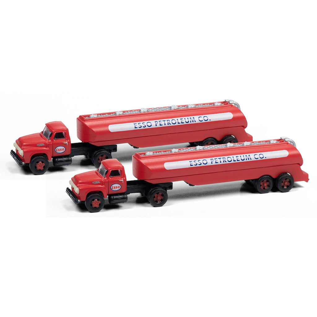 N Scale: 1954 Chevrolet Tractor with Tank Trailer - Esso Petroeum - 2 Pack