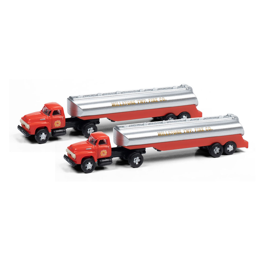 N Scale: 1964 Ford Tractor with Tank Trailer - Millstone Township Fire Dept. - 2 Pack