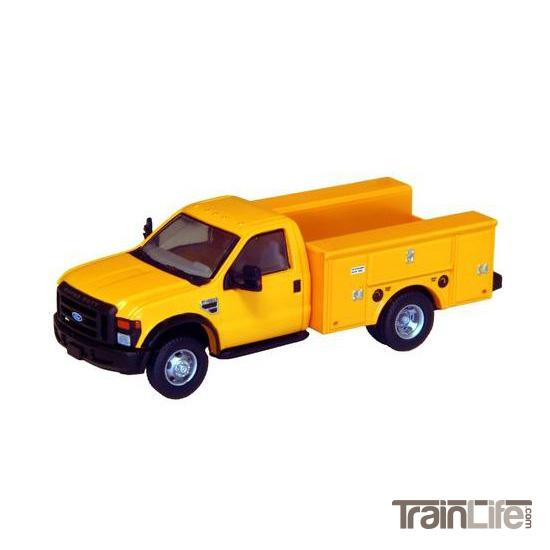 HO Scale: Lighted Ford F-450 XL Regular Cab - DRW Service Body Truck - Yellow