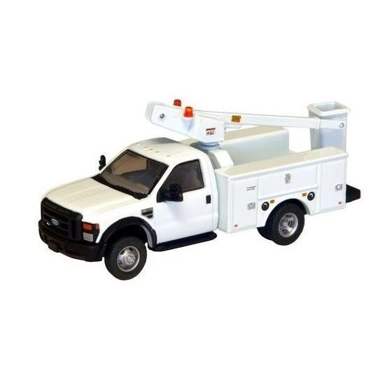 HO Scale: Ford F-450 XL Regular Cab - DRW Service Body Bucket Truck - White