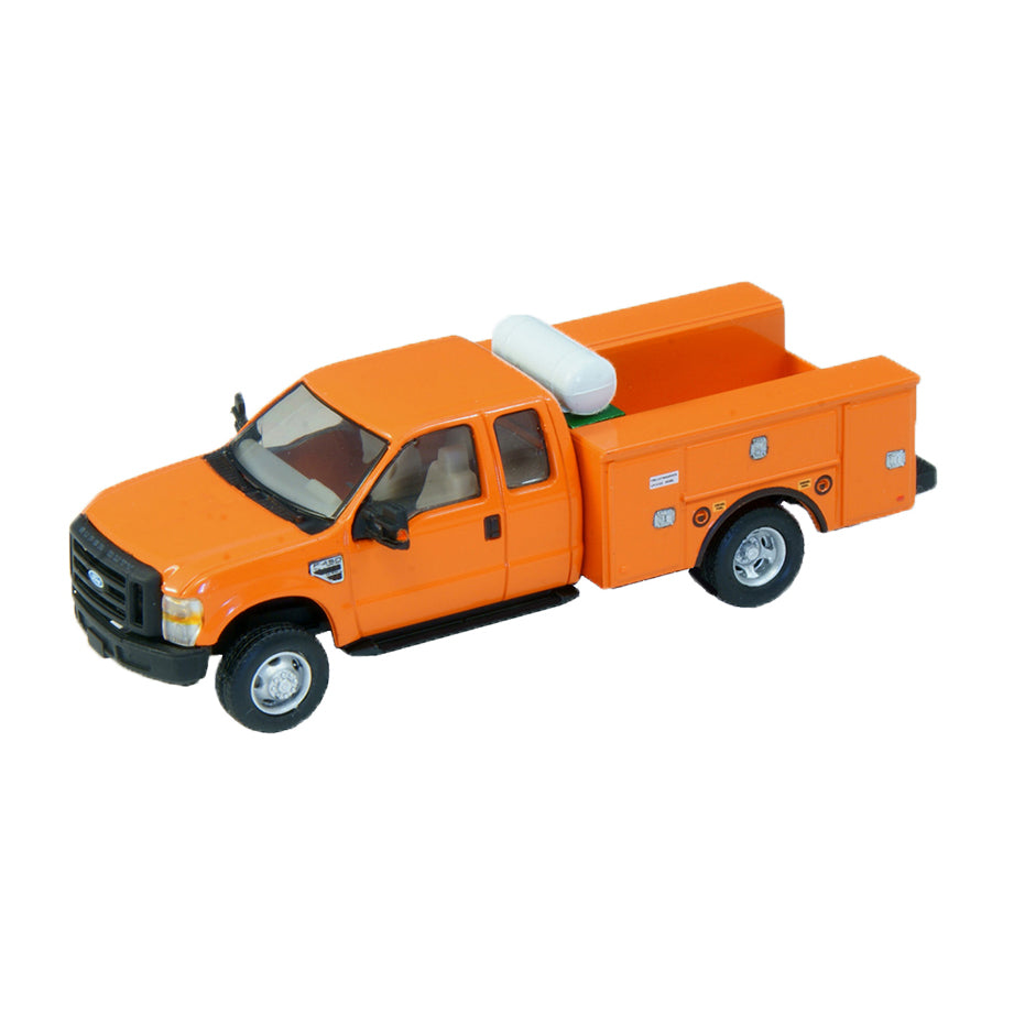 HO Scale: Lighted Ford F-450 Super Cab Fleet Service Truck - Orange