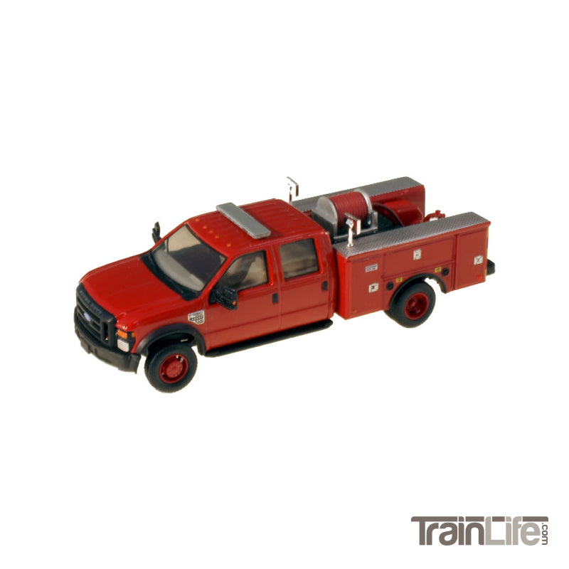 HO Scale: Lighted Ford F-550 XL Crew Cab 4x4 - Fire Truck - Red