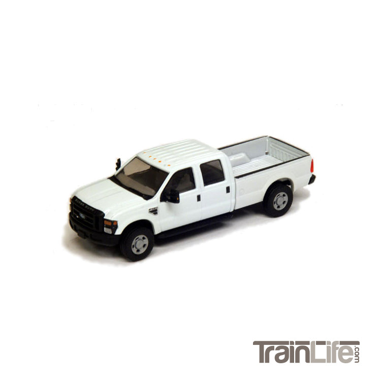 HO Scale: Lighted Ford F350 Crew Cab Truck - White
