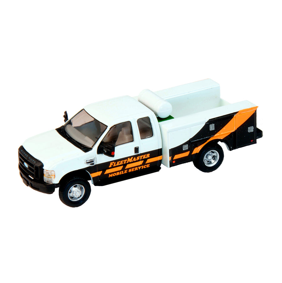 HO Scale: Lighted Ford F-450 Super Cab Fleet Service Truck - FleetMaster Mobile Service