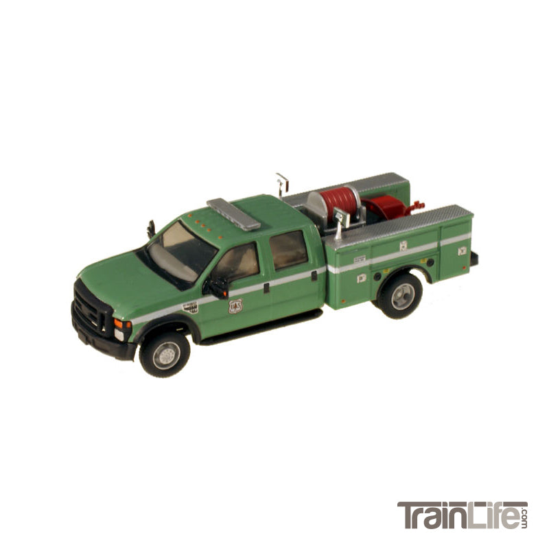 HO Scale: Lighted Ford F-550 XL Crew Cab 4x4 - Fire Truck - Green 'USDA'
