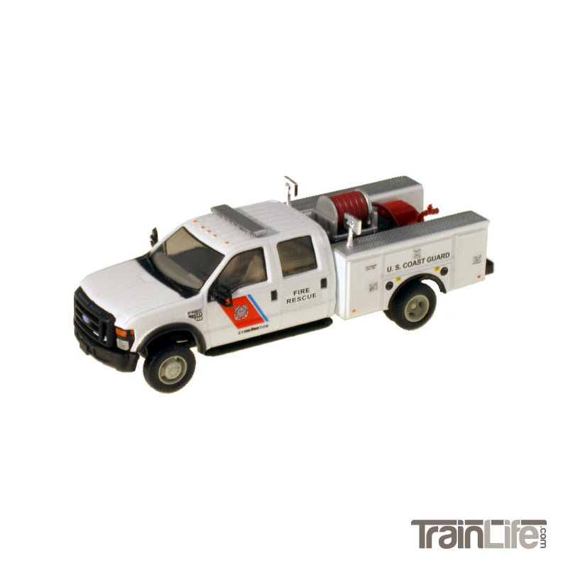 HO Scale: Lighted Ford F-550 XL Crew Cab 4x4 - Fire Truck - White 'USCG'