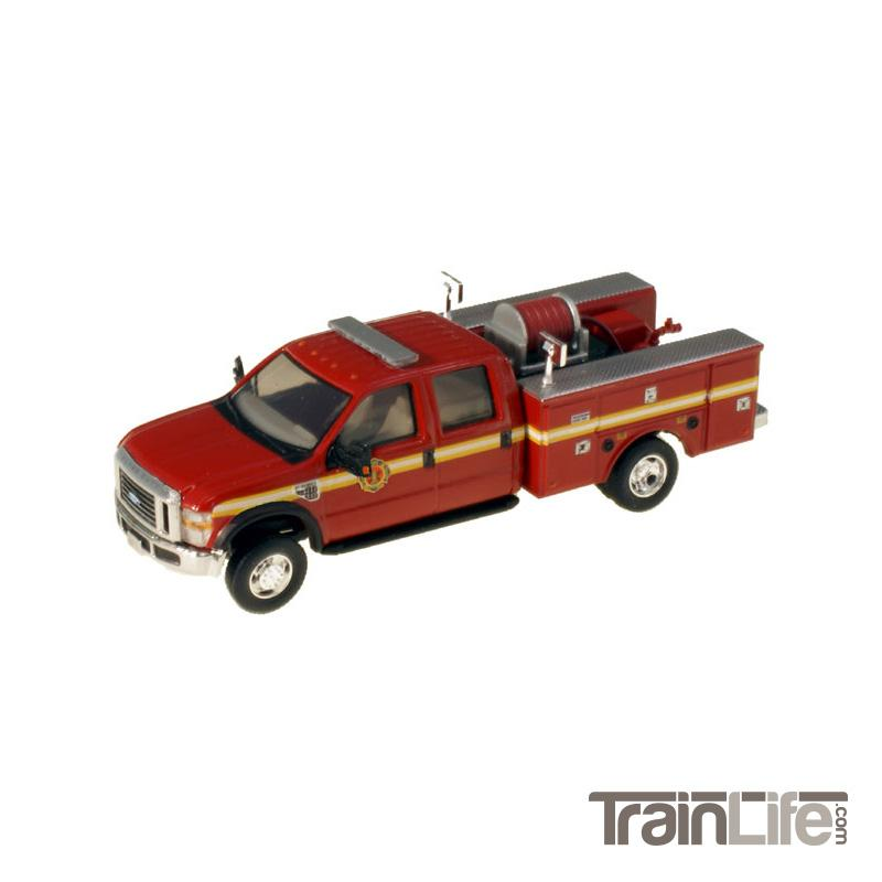 HO Scale: Lighted Ford F-550 XL Crew Cab 4x4 - Fire Truck - Red w/ Yellow Stripes