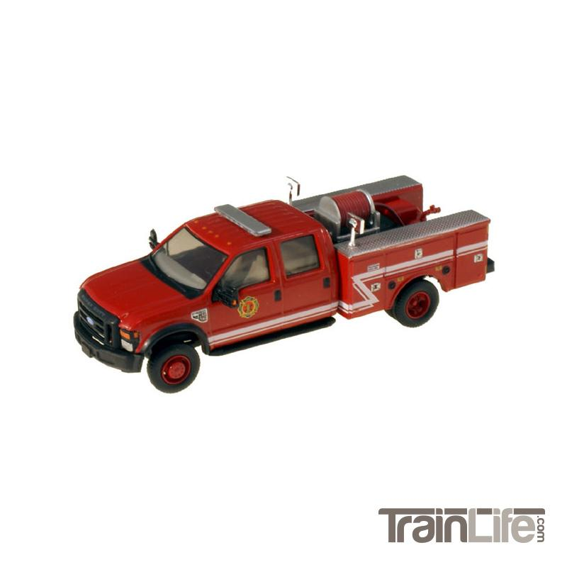 HO Scale: Lighted Ford F-550 XL Crew Cab 4x4 - Fire Truck - Red w/ White Stripes