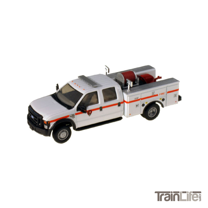 HO Scale: Lighted Ford F-550 XL Crew Cab 4x4 - Fire Truck - White 'National Park Service'