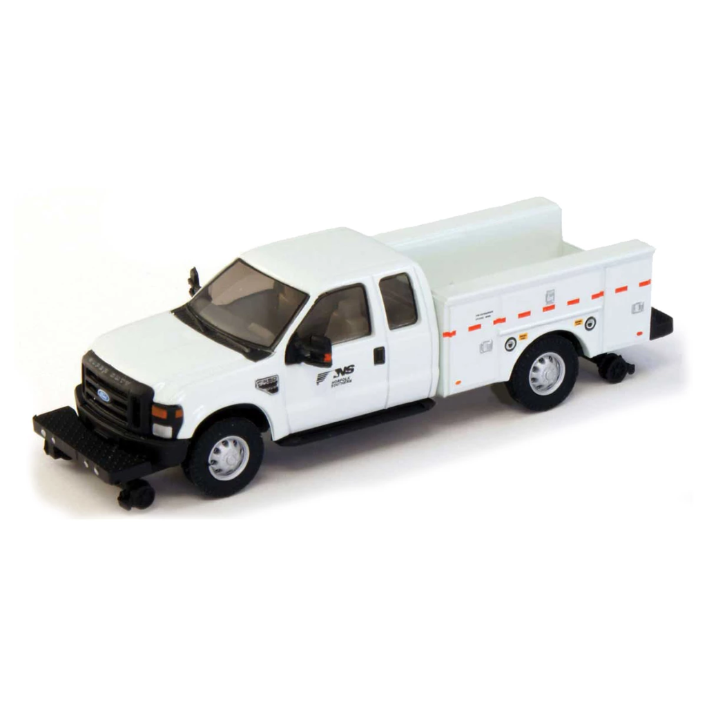 HO Scale: 2008 Ford F-350 Super Cab Truck with Service Body - Hi-Rail - Norfolk Southern