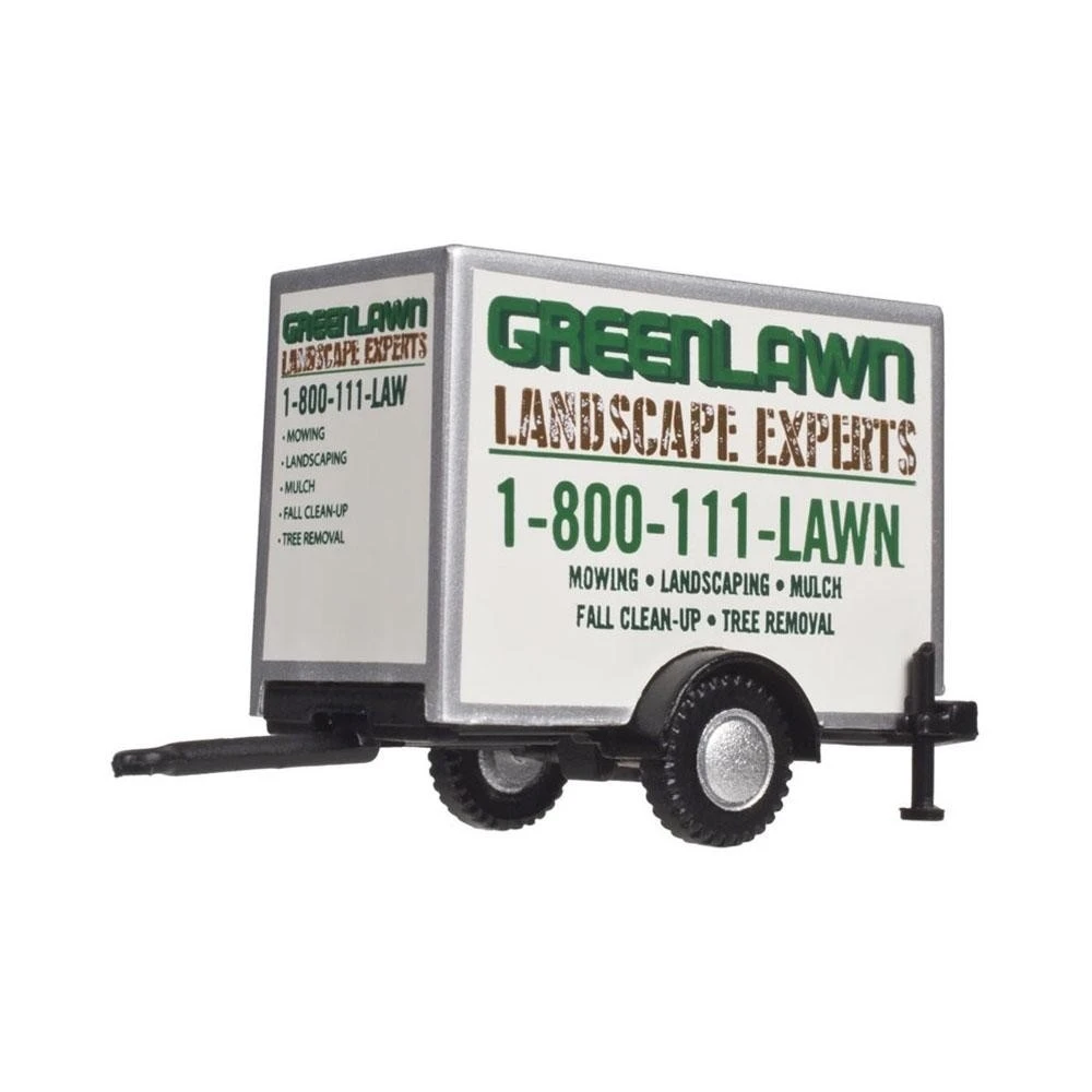 HO Scale: Standard Single Axle Box Trailer - Green Lawn Landscaping