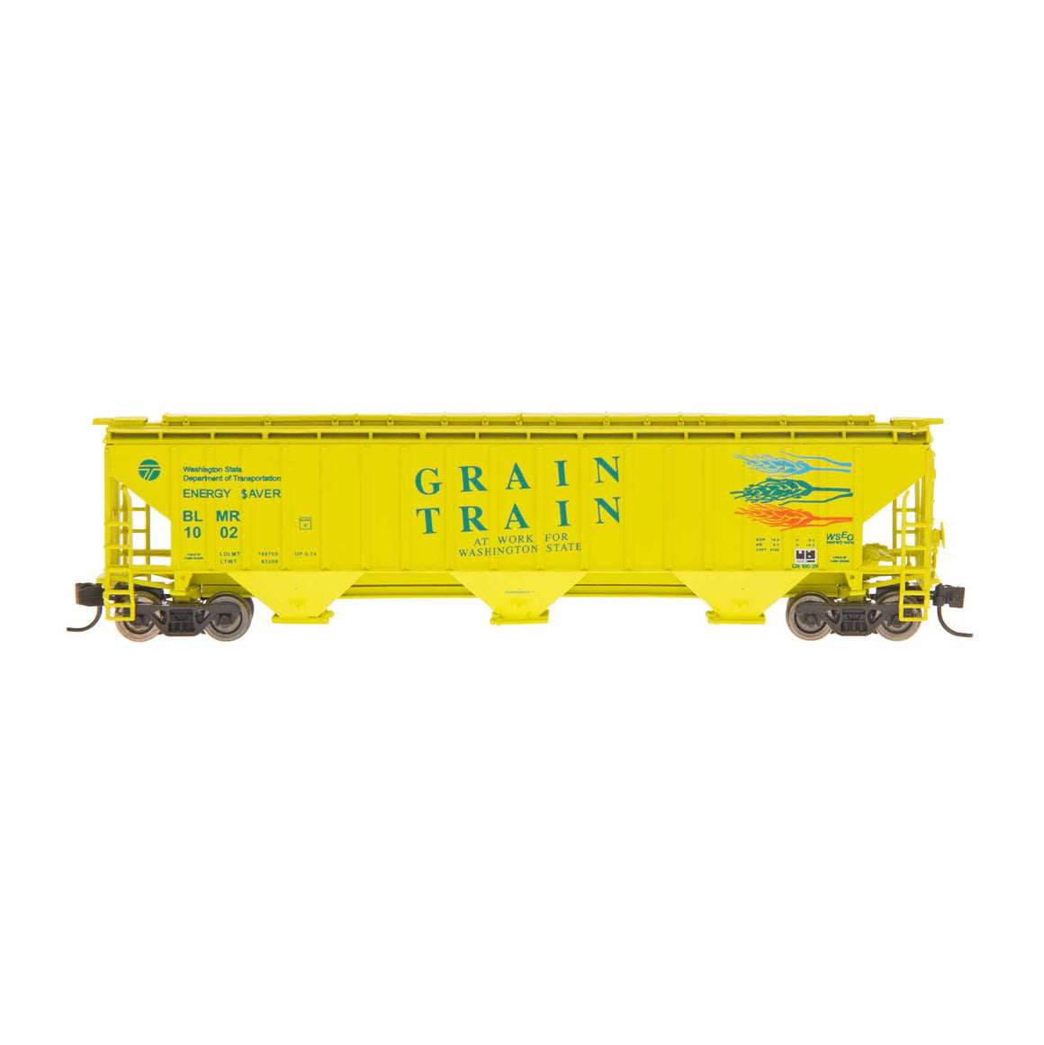 HO Scale: 4750 3-Bay Rib-Sided Covered Hopper - Grain Train