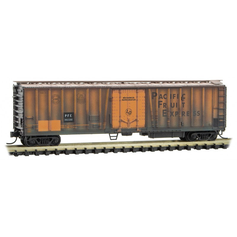 N Scale: 51' Mechanical Reefer - Pacific Fruit Express - Weathered - 3-Pack