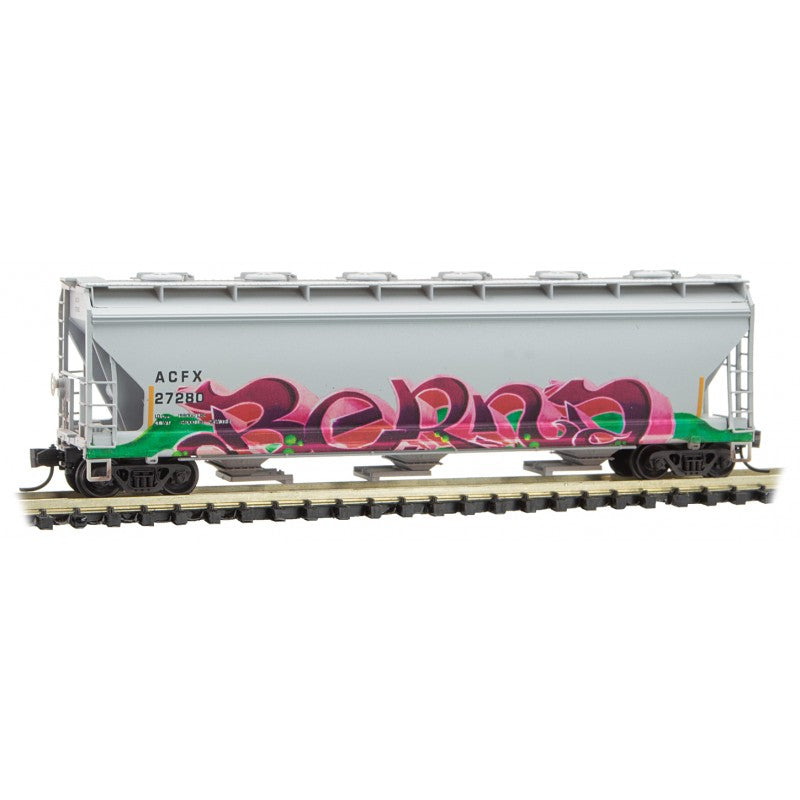 N Scale: 3-Bay Covered Hopper - ACFX - Christmas Graffiti