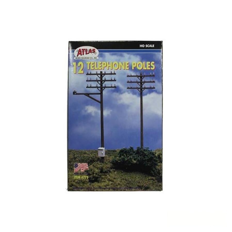 HO Scale: Telephone Poles - 12 Pack