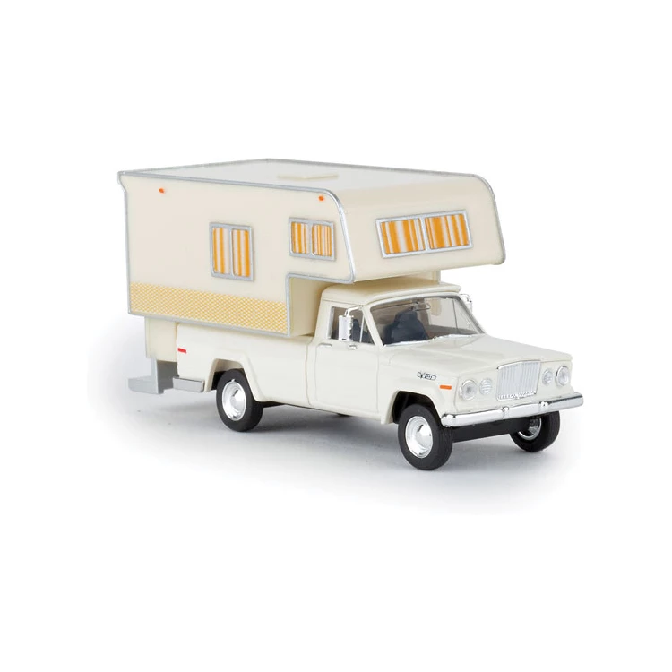 HO Scale: 1962 Jeep Gladiator Pickup Truck w/ Camper - White