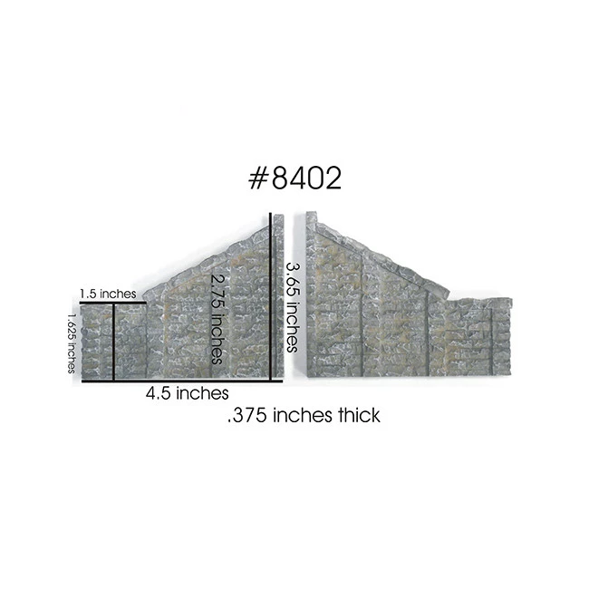 HO Scale: Cut Stone Sloped Tunnel Abutment - 2 Pack