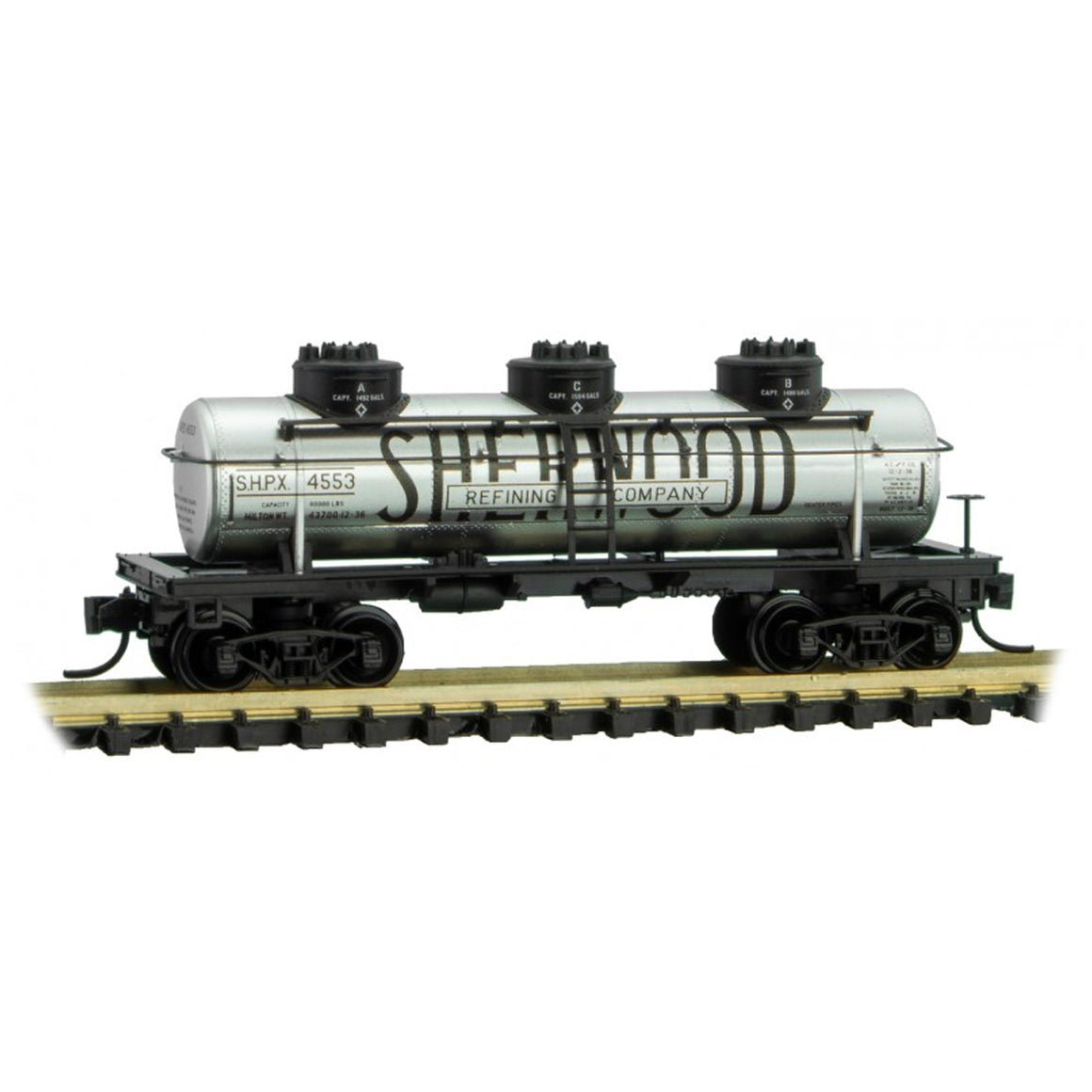 N Scale: 3 Dome Tank Car - Sherwood Refining