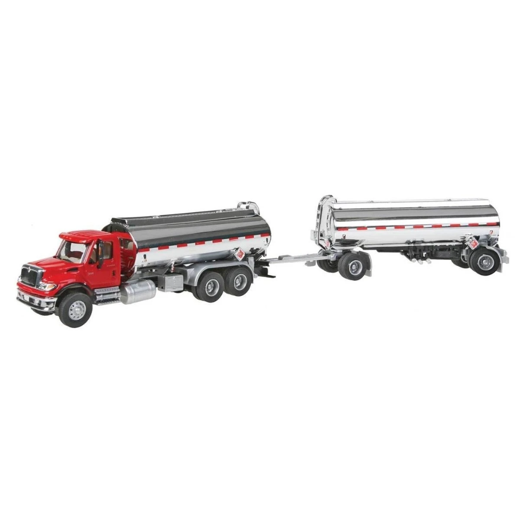 HO Scale: International® 7600 Tank Truck w/Trailer - Red - Gas Station Decals