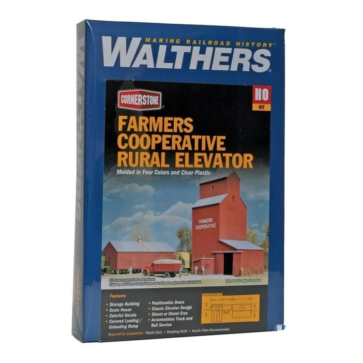 HO Scale: Farmers Cooperative Rural Grain Elevator  - Kit