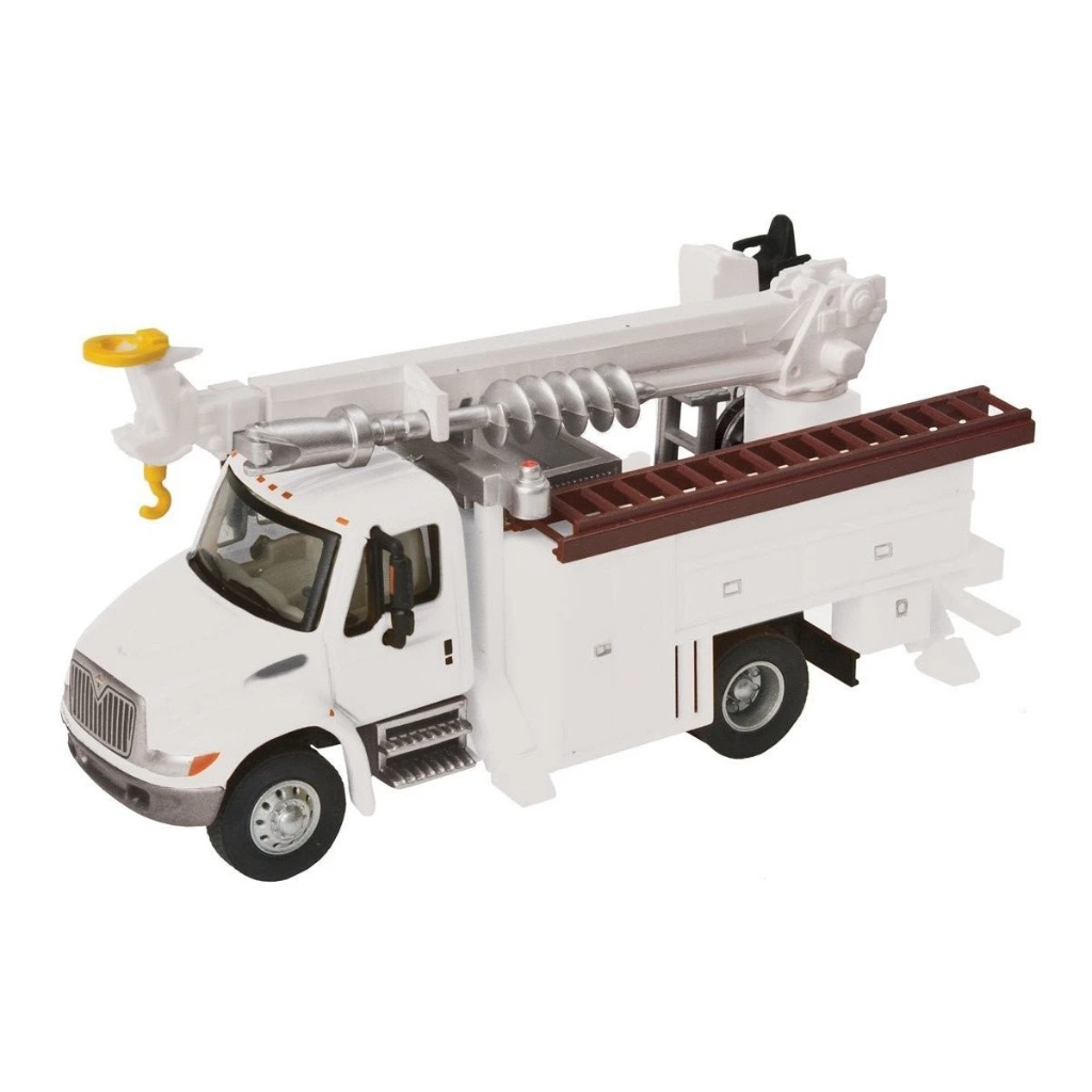 HO Scale: International® 4300 Utility Truck w/Drill - White w/ Logo Decals
