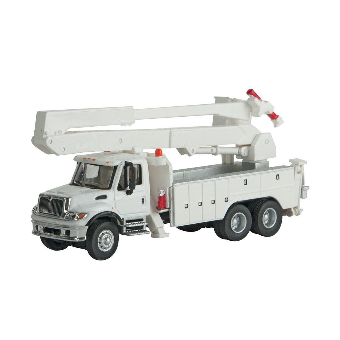 HO Scale: International® 7600 Utility Truck w/Bucket Lift - White w/ RR MOW Decals