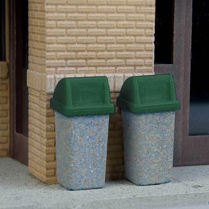 HO Scale: Modern Trash Cans - 24 Pack - Kit